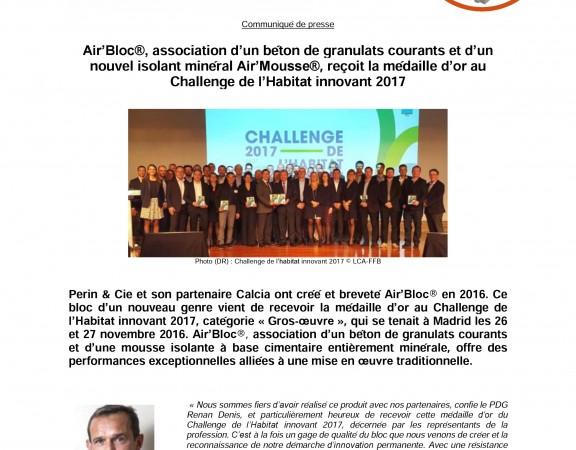 Communiqué de presse Perin & Cie Air'Bloc Medaille d'Or LCA-FFB Nov 2016